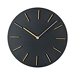 MOTINI Modern Wall Clock,11 Inch Round Creative Quartz Wall Clocks Decorative for Home Office Battery Operated Industrial Style