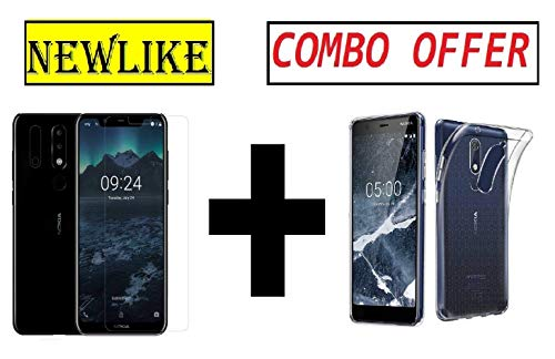 Newlike Nokia 5.1 Plus (Nokia X5) Tempered Glass + 1 Transparent Silicon Back Cover (Combo Pack) by NewLike