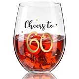 60th Birthday Stemless Wine Glass, Gold Cheers to 60 Years Birthday Wine Glass Present for Men Women 60th Birthday Party Wedding Anniversary Party Decorations, 17 oz Stemless