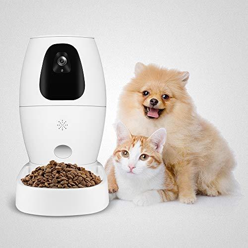 Kacsoo Distributore Automatico Cibo Gatti e Cani Alimentazione Automatica degli Animali Distributore Automatico di Cibo per Gatti Telecamera Intelligente per Cani Full HD