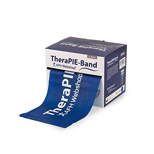 AFH-Webshop Therapie Band | Übungsband | Fitnessband | Trainingsband | Verschiedene Widerstände und Längen (mittel (dunkel-blau), 25)