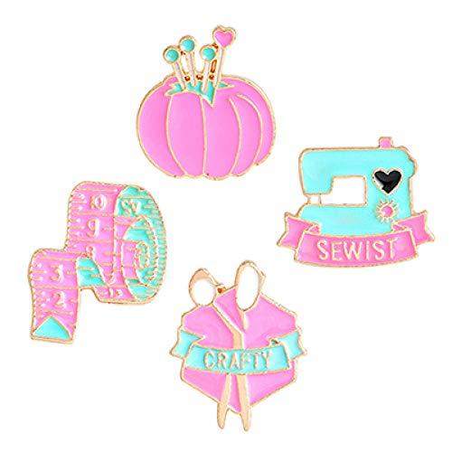JKDFGJ 4pcs Cute Cartoon Pink Nähmaschine Maßband Schere Pin Clew Brosche Sewist Crafty Nähen Emaille Icon Weavers Geschenke