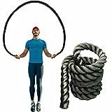 Beifeng Fitness - Cuerda de salto pesada, 25 mm, cuerda de salto de batalla pesada