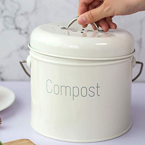 Great Features Of Kitchen Compost Bin with Lid, 1.3 Gallon Compost Bucket with Charcoal Filter Cotto...