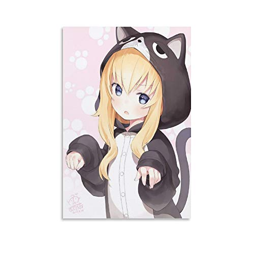 JJRM Kawaii Cute Cat Anime Girl Poster Decorative Painting Canvas Wall Art Living Room Posters Bedroom Painting 16x24inch(40x60cm)