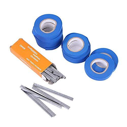 ddmlj Bindemaschine Pflanze Garten Pflanze Tapetool Tapener 10 Roll Tape + 1 Box Nails Für Gemüse Traube Tomate Gurke Pfeffer Flowe-Zubehör Blau