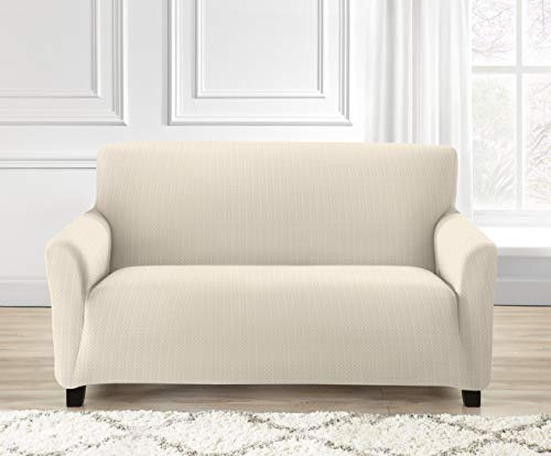 Ashley Mills Easy Stretch Furniture Slip On Cover Elastic Fabric Quilted Sofa/Arm Chair Protector 1 2 3 Seater (2 Seater, Cream)