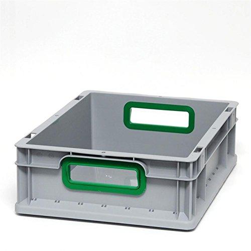 Euroboxen Eurokasten Eurobehälter offener Griff 600 x 400 x 120 mm - Griffmulde grün - Eurokisten Eurobox Lagerbox Lagerboxen Lagerkiste Lagerkisten