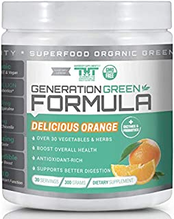 Generation Greens Powder | Organic Superfood Powder with 60 Powerful Ingredients | Chlorella, Spirulina, Wheat Grass and CoQ10 Included | 30 Servings, Orange
