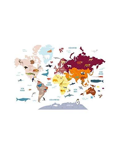 DECOLOOPIO - Adesivo Grande con Mappa del Mondo di Animali