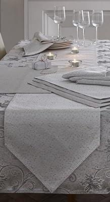 Christmas Table Runner Ravina Silver Grey 35cm x 200cm