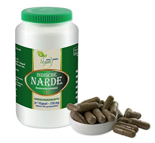 VITAIDEAL VEGAN® Indische Narde (Nardostachys jatamansi) 120 Kapseln je 550mg, rein natürlich ohne Zusatzstoffe.