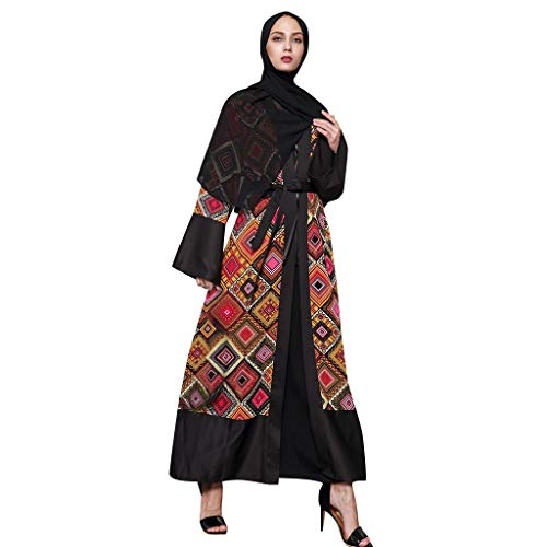 TEBAISE Muslimisch Morgenmantel Muslim Kimono Abaya Dubai Kleid Islamisch Arab Arabisch Indien Türkisch Casual Abendkleid Kaftan Kleidung Maxikleid A Linie V Ausschnitt Dress Damen Frauen für Ramadan