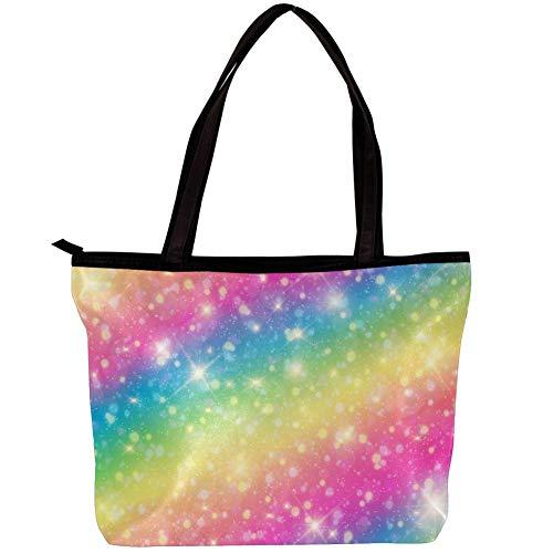 Umhängetasche Mädchen Farbmuster Sterne Geldbörsen und Handtaschen für Frauen Damen Satchel Fashion Totes 30x10.5x39cm