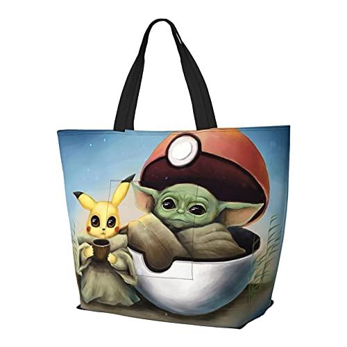 Baby Yoda Star The Wars Pik-achu Bolso de mano con asa de hombro, estilo simplicidad, gran capacidad, bolsa de compras, gimnasio, playa, viajes, diario, unisex, plegable