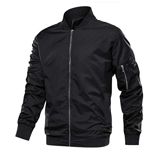 TACVASEN Lightweight Jacket for Men Spring Fall Thin Flight Bomber Coat, Black 2XL