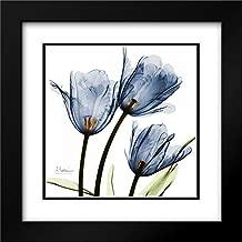 New Blue Tulips C54 28x28 Black Modern Frame and Double Matted Art Print by Koetsier, Albert