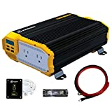 KRIËGER 1100 Watt 12V Power Inverter Dual 110V AC Outlets, Installation Kit Included, Automotive Back Up Power Supply For...