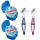 Denture Cup with Strainer, Denture Case Mouth Guard Holder, Container Storage Box with Denture Brushes BRMDT Soaking Denture Bath