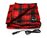 Camco Polar Fleece Heated Blanket for Cars, Trucks, and RVs - Power Cord Plugs into 12V Vehicle Power Outlet | Great for Cold Weather, Traveling, or Emergencies - Plaid Red (42804), 59' x 43'