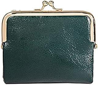 Wangyueey بو الجلود محافظ صغيرة بمشبك للسيدات حقائب محمولة للأموال أنثى حامل بطاقة السعة المتوقع (اللون: أخضر)
