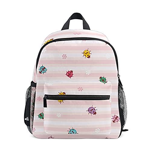 ISAOA - Mochila para niñas y niños, diseño de mariquitas de colores escarabajos en rayas rosas, mochila escolar para niños con correa para el pecho