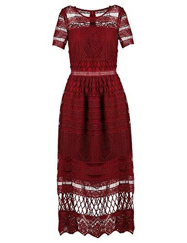 Apart damska sukienka koronkowa, formalna sukienka wieczorowa, bordowa, normalna