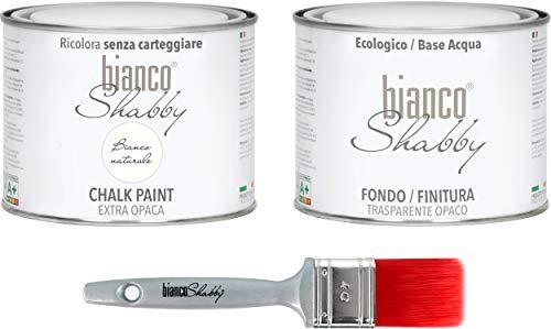 CHALK PAINT Bianco Naturale & FINITURA + PENNELLO - Pittura Shabby Chic EXTRA OPACA (500 ml) + Finitura Trasparente Opaco (500 ml) + 1 Pennello Pro 40 mm