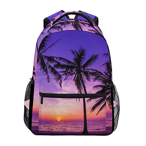 Tropical Palm Tree Durable Backpack College School Book Shoulder Bag Daypack for Boys Girls Man Woman
