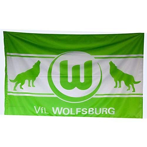 Flaggenfritze Hissflagge VFL Wolfsburg Wölfe - 120 x 180 cm + gratis Aufkleber