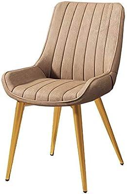 MAYL モダンな高級家庭用オフィス兼用椅子、 芸術的な鉄のダイニングチェア、金色足付き- キャメル