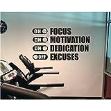 Enfoque Motivación Dedicación En Excusas Pegatinas de pared para gimnasio Fitness Vinilo Tatuajes de pared Dormitorio Decoración para el hogar Aula 57x32 cm
