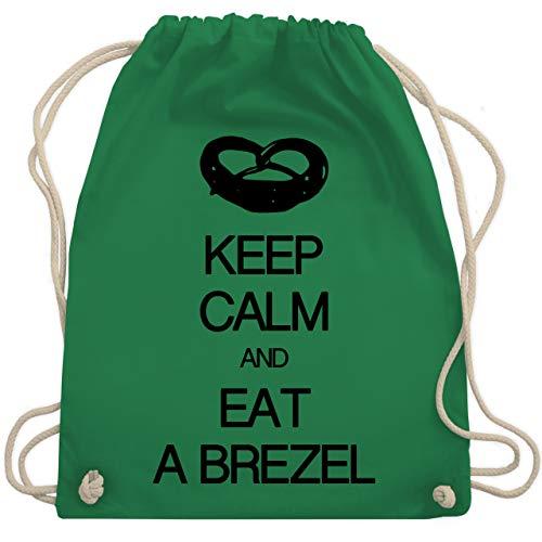 Shirtracer Keep calm - Keep calm and eat a brezel - Unisize - Grün - WM110 - Turnbeutel und Stoffbeutel aus Bio-Baumwolle