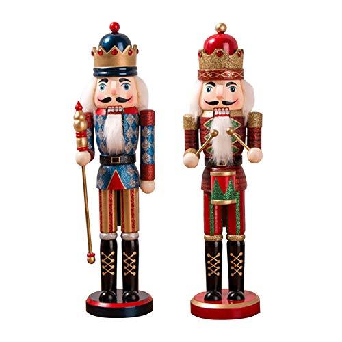 Fuyamp Figurine de soldat casse-noisette, roi, 38 cm, en bois, décoration pour la maison, pour Noël, Nouvel An, cadeau pour enfant