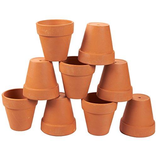 Juvale - Confezione da 9 vasi di terracotta con fori di drenaggio, mini vasi da fiori in argilla, perfetti per esporre piante grasse, cactus vivaio, piante da interno ed esterno