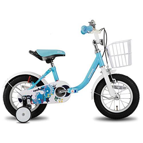 cycmoto 子供用自転車 2 3 4 5 6歳 12インチ 14インチ 16インチ 幼児用自転車 花と傘 ランニングバイク 誕生日プレゼント 子供のギフト バランス感覚養成 キッズバイク 贈り物 高さ調節可能 男の子 女の子 ピンク ホワイト ブルー