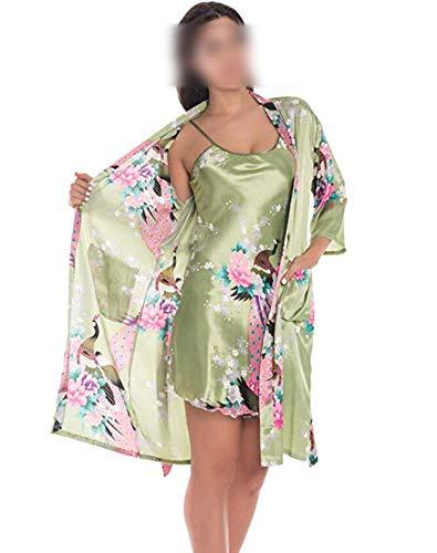 who-care Mode Damen Sommer Mini Kimono Robe Lady Rayon Bademantel Yukata Nachthemd...