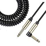 Asmuse™ Cable Rizado para Instrumento de Bajo Guitarra Eléctrica 1/4 Pulgadas 6,3 mm Jack Cable en Espiral con Reducción de Ruidos para Guitarra Bajo Eléctricoa Amp-5 M