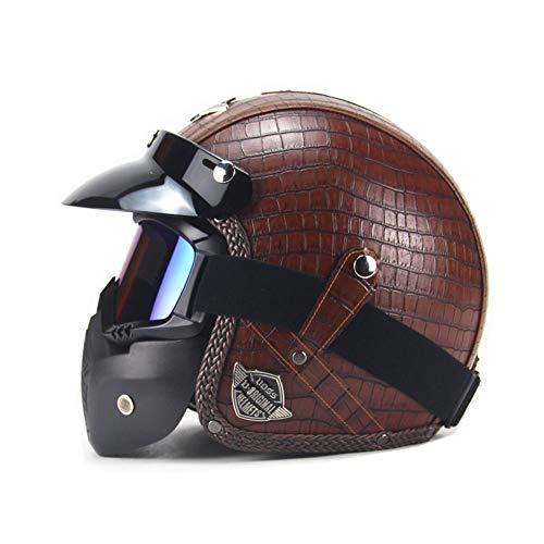 Casco jet semi-integral para motocicleta, casco de scooter, casco Bobber, chopper retro Cruiser Vintage Pilot Biker gafas