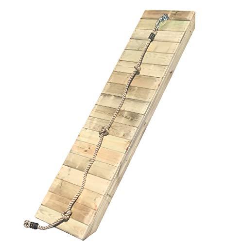 HOQ Rampe schräg mit Knotenseil für Spieltürme Kletterwand für Stelzenhäuser (für Podesthöhe 150 cm, Breite 50 cm)