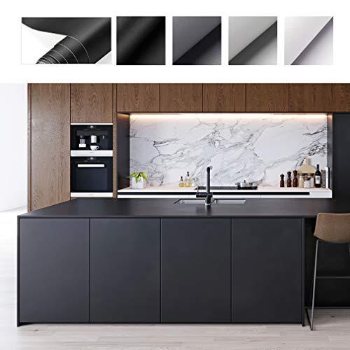 PROHOUS Küche Selbstklebende Klebefolie Verdickte Möbelaufkleber 0.61 * 5M DIY Matte Möbelfolie aus PVC Küchenschrank Aufkleber Möbel Schrank Folie Schwarze Dekorfolie für Tische, Wände, Möbel