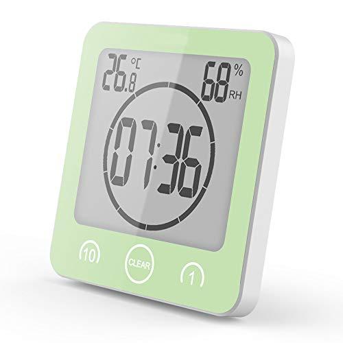 JQSPOWER Bagno Doccia Timer Allarme Digitale Orologi Presa a Muro Bagno Impermeabile termometro igrometro per Doccia Cucina Trucco Green