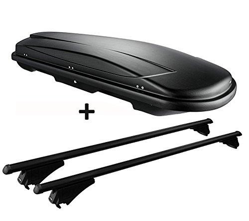 VDP Dachbox schwarz Juxt 600 großer Dachkoffer 600 Liter abschließbar + Alu-Relingträger Dachgepäckträger aufliegende Reling im Set kompatibel mit Hyundai ix35 ab 10