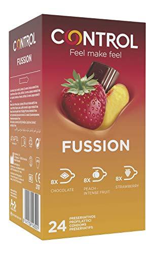 CONTROL Fussion Preservativos - Caja De Condones De Aormas Afrodisíacos: Chocolate, Menta Y Melocotón - 24 Unidades (Pack Ahorro) 54 ml