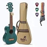 Hola! Music HM-121BU+ Deluxe Mahogany Soprano Ukulele Bundle with Aquila Strings, Padded Gig Bag, Strap and Picks - Teal