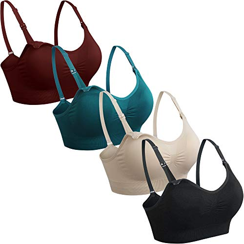 GXXGE 4Pack Nursing Bra for Breastfeeding Maternity Bras Push Up Silk Seamless Pregnancy Bralette Underwear Black Beige Rosered Blue X-Large
