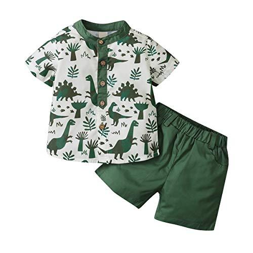 WangsCanis 2PCs Ragazzi Vestiti Set Toddler Baby Boy Manica Corta Crop Top Dinosaur Beachwear T-Shirt Pantaloncini Casual Sport Trunks Costume Abiti Estivi Set Outfits (Verde, 4-5 Anni)