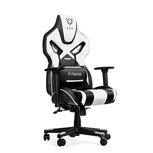 Diablo X-Fighter Gaming Stuhl Bürostuhl Verstellbare Armlehnen 3D Lendenkissen Wippfunktion Kunstlederbezug Perforiert Farbwahl (weiß)