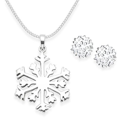 Heather Needham Schneeflocken-Set, 925 Sterlingsilber, Halskette mit Ohrringen, 40,6 cm lange Silberkette, Größe 7 mm und 21 mm, in Weihnachtsgeschenkbox 8174/16/5103