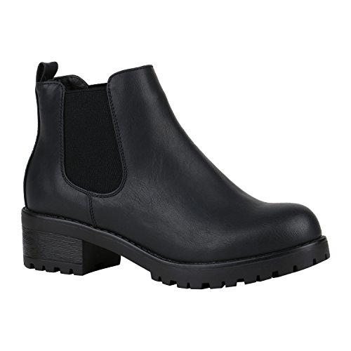 Damen Chelsea Boots Blockabsatz Plateau Stiefeletten Leder-Optik Schuhe 149626 Schwarz Camiri 38 Flandell